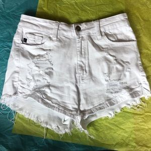 Kancan size 27 Distressed White Shorts
